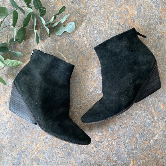 Marsell Black Suede Ankle Boots Shoes w/ Heel